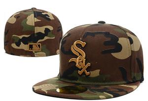 Yeni 2019 erkek Tam Camo Renk Beyaz Sox Gömme Kap Düz Ağız embroiered sox mektup Takım logosu Hayranları Beyzbol Tam Kapalı Şapkalar kemik
