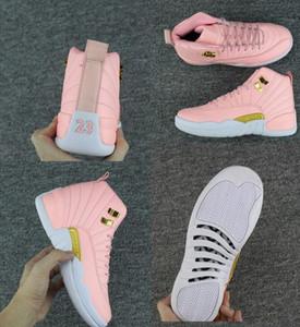 Çocuklar Büyük boy ayakkabı yeni Ücretsiz Kargo XII GS Pembe Limonata Basketbol ayakkabı Womens Çocuklar 12 s Pembe Limonata XII Sneakers Boyutu bize 5-8