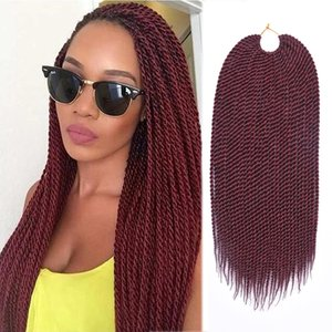 """TOMO Hair 30Roots 14"""" 16"""" 18"""" 20"""" 22"""" Senegalese Twist Crochet Braids hair Ombre Synthetic Crochet Braiding Hair Extensions"""