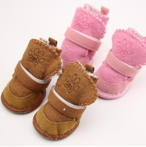 4 unids / set zapatos antideslizantes zapatos de algodón para perros zapatos de perro de invierno cálido a prueba de agua peluche mascotas gruesas botas de nieve inferior suave para perro pequeño