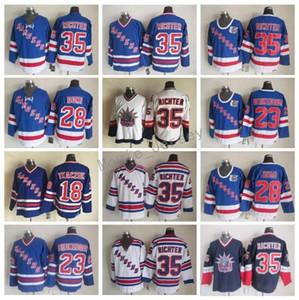 New York Rangers Adam 35 Mike Richter Forması 28 Kravat Domi 23 Jeff Beukeboom 18 Walt Tkaczuk Vintage Klasik Hokey Formaları Mavi