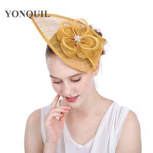 21Colors choisir la qualité supérieure Sinamay teardrop chapeaux fascinateur cheveux d'or fascinateur femmes headpiece serre-tête kentucky derby chapeau royal SYF153