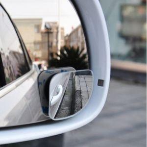 2pcs / lot accessoires de voiture petit miroir rond rétroviseur de voiture angle mort objectif grand angle 360 degrés de rotation réglable