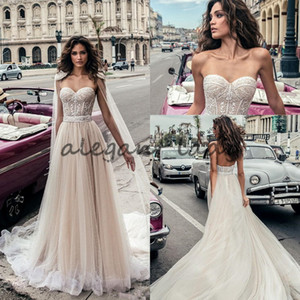 Julie Vino Full Beaded Wedding Dresses with cape wrap Beach Backless Sweetheart Neckline Vestido De Novia Lace Corset Wedding Gowns
