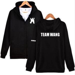 힙합 패션 브랜드 의류 K-POP KPOP GOT7 잭슨 팀 왕 같은 양털 지퍼 후드 자켓 여성 까마귀 스웨터