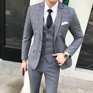 Garnitur Mężczyźni Jesień I Zima Nowy Brytyjski Styl Duży Rozmiar Plaid Garnitury Formalna Noszenie Prezent Single-Breasted Mens Wedding Suit