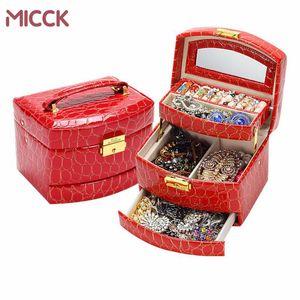 MICCK Mücevher Kutusu Tutucu Timsah Deri Takı Depolama Ruj Organizatör Ekran Rangement Bijoux Hediye Güzellik