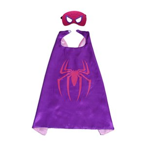 Superhero cosplay capas e máscaras l70 * w70cm crianças capes de duas camadas de cetim capa de natal do dia das bruxas trajes cosplay ótimo para presente das crianças