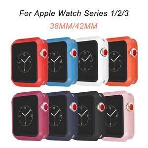 NUEVA resistencia a caídas Funda de silicona blanda para Apple Watch iWatch Series 1 2 3 Cubierta de protección completa 42mm 38mm correa de correa