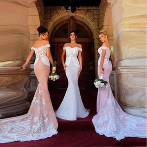 2018 Pretty Lace sirena vestidos de dama de honor apliques de hombro largo piso vestidos de invitados de boda vestidos de dama de Honor BA8963