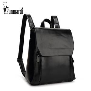 FUNMARDI New arrival mochila de couro do vintage estilo simples bolsa de couro das mulheres marca de moda design saco de viagem saco de escola WLHB1620