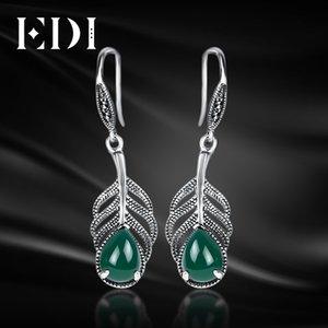 EDI стерлингового серебра 925 мотаться серьги старинные зеленый агат халцедон с серебряные серьги 925 для женщин