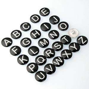26 Русские буквы стиль Noosa Snap ювелирные изделия медвежонка-лапы DIY стеклянные кнопки Snap Fit 18 мм защелкивающиеся браслеты браслеты