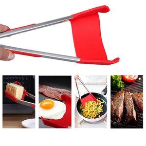 Inteligente 2 em 1 Espátula de Cozinha e Pinças Antiaderente Resistente Ao Calor Grampo do Alimento Aperto De Aço Inoxidável Quadro Cozinha Pinças de Cozinha Gadget
