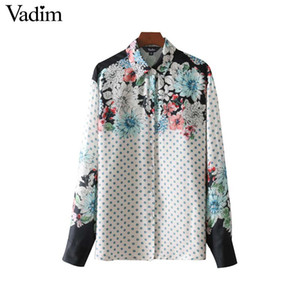 Vadim vintage floral polka dot print loose shirts long sleeve pleated blouses female fashion  oversized tops blusas LT2736