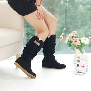 GOXPACER Winter Donna Stivali Mid Calf Flush Donna Casual Snow Boots Tacco basso Thermal Fashion Shoes Plus Size Punta rotonda Flock Nuovo