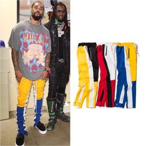 Nueva Colourblocked postal Miedo interior del lado de Dios FOG Justin Bieber cremallera pantalones de deporte casuales de los hombres de hiphop pantalones de chándal del basculador pantalones Sportwear