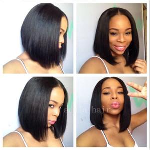 Машина человеческих волос сделал кружева перед парик сторона часть прямой бразильский девственные волосы парик предварительно сорвал короткие Боб парики для чернокожих женщин