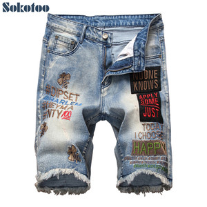 Sokotoo Men's knee length letters embroidery fringe shorts Plus size bees embroidered patches slim straight denim jeans