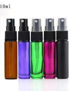 Flacon vaporisateur en verre de 10 ml (1/3 oz) Bouteilles en verre de parfum Atomiseur de parfum rechargeable noir vert ambre bleu