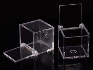 200pcs de la categoría alimenticia de plástico transparente plaza caramelo de la caja de embalaje transparente del tirón del regalo de boda del favor de la caja de recuerdos SN303
