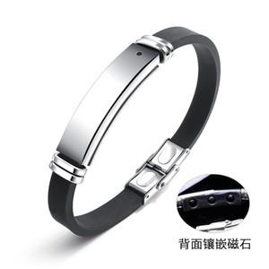 JeeMango Engravable Men Charm Bracelets Healthy Energy ID Bangles Fashion Black Magnetic Stone Silicone Therapy Bracelet OPH1276