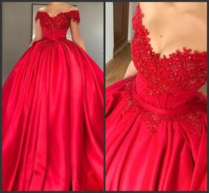 2019 Nuevo vestido de bola roja con hombros descubiertos modestos Vestidos de quinceañera Apliques Con cuentas Satin Corset Lace Up Vestidos de baile Vestidos Sweet Sixteen 436
