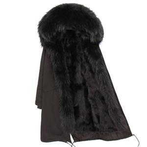 зимние пальто Муклы мех бренд черного енота меховой отделки планка снежок женщин пальто черного мех енот подкладка черный X-Длинная женские ветровки
