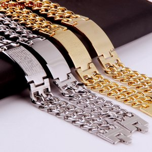 Granny Chic Hot Sell Men's Fashion Silver/Gold Stanless Steel Wide Spanish Bible ID Double Link Chain Bracelet