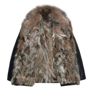 Real Waschbär-Pelz-Mantel-Winter-Jacken Windjacke Schnee Leder Jakcets Outwear Overcoat warme starke Qualitäts-Plus Size DHL
