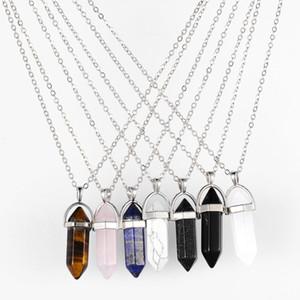 Ожерелье золота Серебряной цепочка из нержавеющей стали ювелирных изделий из природного камня Подвеска Заявления Чокеров ожерелье розового кварца Healing кристаллы ожерелье