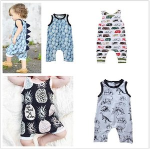 20pcs Baby Print Rompers Boy Girls car dinosaur Newborn Infant Baby Girls Boys Summer Clothes Jumpsuit Playsuits Y257