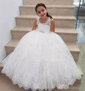 Weiße reizende 2018 Blumen-Mädchen kleidet Juwel-Hals-Korn-Schärpen-Mädchen Festzug-Kleider Kinderabschlußball-Partei-Kleid-Hochzeits-Partei-Kleid für Mädchen an