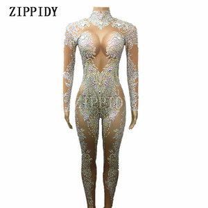 AB Rhinestones Sparkly Jumpsuit Moda Sexy Desnudo grande Stretch Dance Costume Traje de una sola pieza Body Outfit de cumpleaños Leggings S916