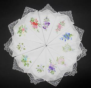 Vintage puro cotone Fazzoletto Ragazze tovagliolo ricamato Donne tovagliolo ricamato farfalla del merletto del fiore Fazzoletto casa articoli per la tavola