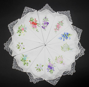 Pure Cotton Handkerchief Vintage menina guardanapo Mulheres bordado guardanapo bordado da borboleta do laço da flor Handkerchief Início utensílios de mesa