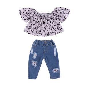 Mikrdoo Kinder Baby-Sommer-Art und Weise 2PCS Kleidung stellt Rüschen Leopard Short Top + Ripped Holes Jeans Outfit Kleinkind Schöne beiläufige Kleidung