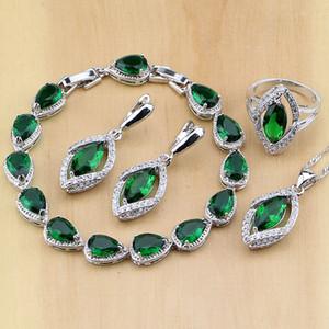 Rhombisch Grün Erstellt Smaragd Weiß CZ 925 Sterling Silber Schmuck Sets Für Frauen Ohrringe / Anhänger / Halskette / Ringe / Armband