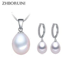 Gioielli ZHBORUINI Pearl Set d'acqua dolce naturale della collana di goccia della perla orecchini di Zircon 925 Sterling Silver Jewelry per le donne regalo