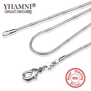 YHAMNI Longa 16-32 polegada (40-80 cm) 100% Autêntico Sólido 925 Sterling Silver Gargantilhas Colares 1mm Cadeias de Cobra Colar para As Mulheres YDHX01