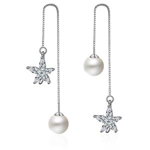 EH234 Fashion Women Crystal Rhinestone Snowflake Star Ear Stud Earring Wedding Bridal Jewelry Silver plating Frozen Snowflake earrings