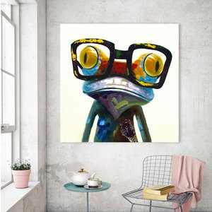 Abstract Animal The Frog With Glass Art Handpainted / Print Modern Home Decor Wall Art Pintura al óleo sobre lienzo Tamaños múltiples / Opciones de marco a35