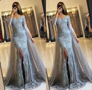 2020 Prom Dresses sirena africana con il treno staccabile a maniche lunghe Scollo a V Appliques gli abiti di sera Sparkly formali vestiti convenzionali personalizzate