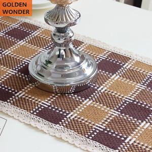 Algodón y línea hechos a mano mediterráneos modernos hechos a mano del mantel de tabla del corredor de tabla grueso hecho a mano