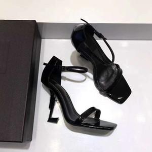 Rojo Patentes Negras de Cuero Sandalias de Gladiador Mujeres Únicas de Metal Tacones Altos Bombas Famosa Marca Correa de Tobillo Vestido Zapatos de Boda Caja Original