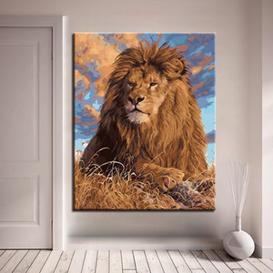 DIY Oil Painting By Numbers Lion Animal Paint By Numbers For Adults Coloring By Numbers For Home