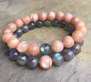 10mm Natural Sunstone Beads Bracelet, 10mm Natural Labradorite Beads Elastic Bracelet, Gemstone Bracelet, Bead Bracelet, Gifts