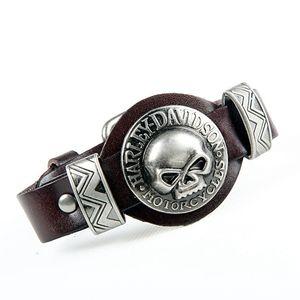 Fashion Echtes Leder Punk Schädel Mann Armbänder Armreifen Armband Design Rock Skeleton Armband Für Frauen Männer Schmuck Zubehör