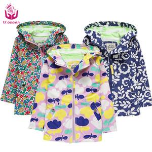 Ucanaan Novo 2017 design meninas primavera jaqueta com capuz terno longo casaco crianças à prova d 'água e à prova d' água multicolor outerware