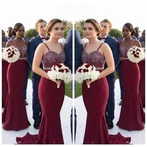 2018 tiras de espagueti atractivas sirena borgoña largo vestidos de dama de encaje africano criada de honor vestidos de boda vestidos de invitados baratos personalizados